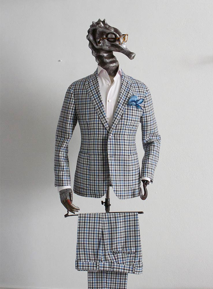Baby blue and grey checked plaid wool linen blend casual suit - Front