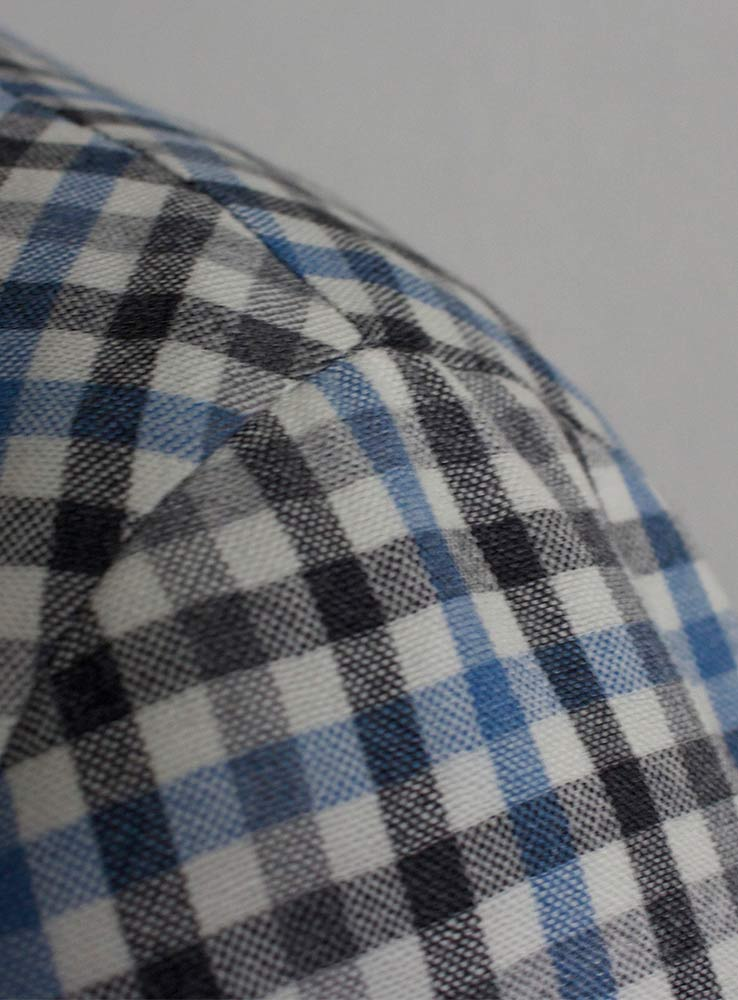 Baby blue and grey checked plaid wool linen blend casual suit - Jacket Neapolitan shoulder