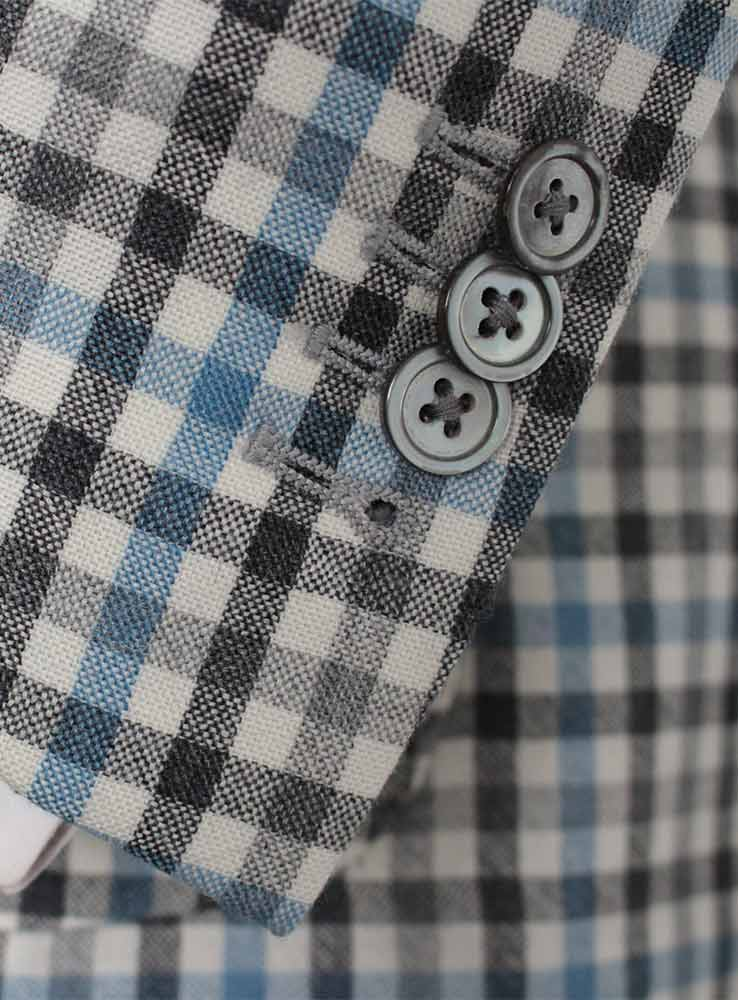 Baby blue and grey checked plaid wool linen blend casual suit - Jacket cuff buttonholes