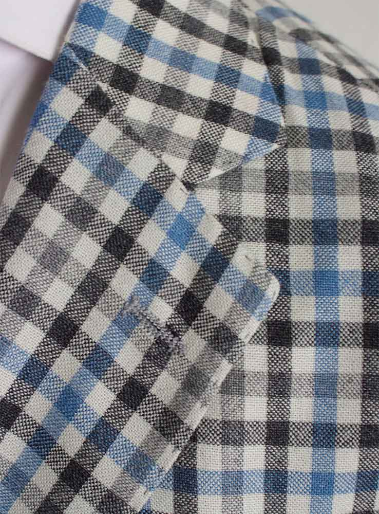Baby blue and grey checked plaid wool linen blend casual suit - Jacket notch lapel