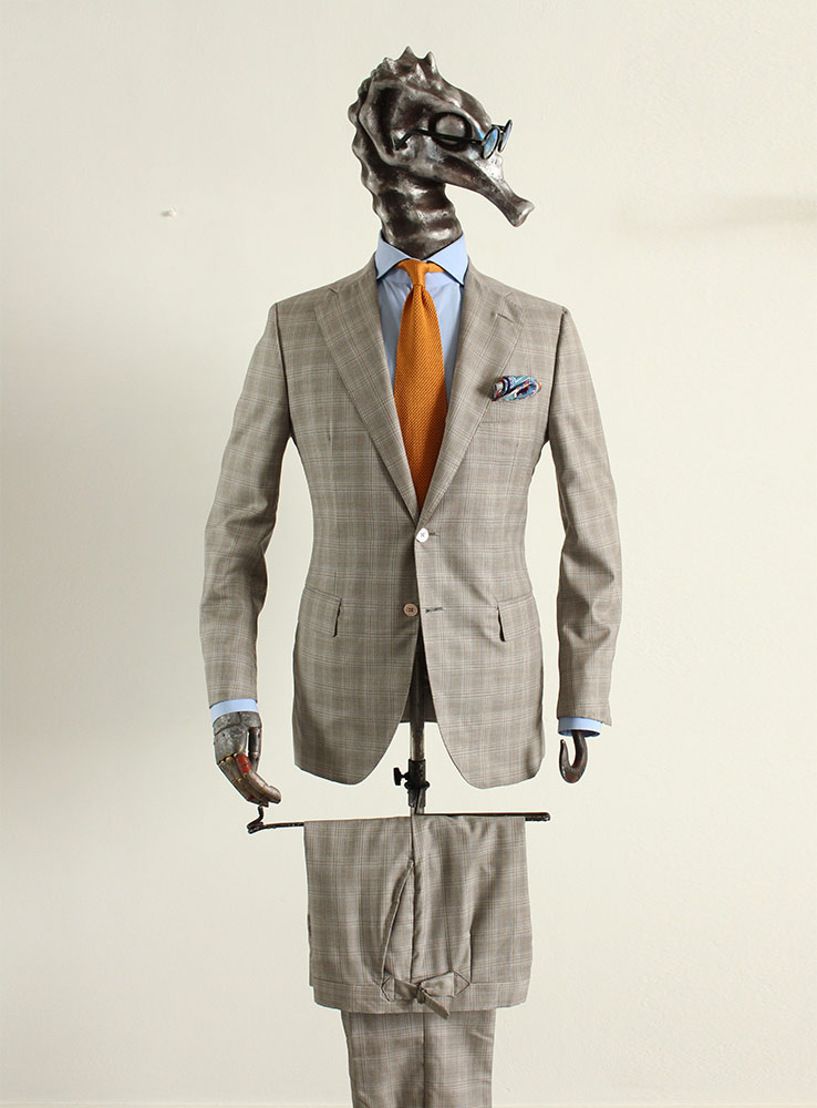 Beige Prince of Wales Wool Super 160 Racing Suit - Front