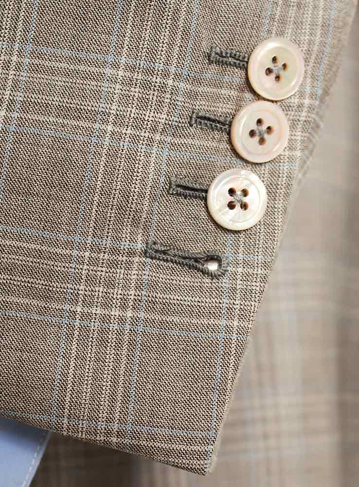 Beige Prince of Wales Wool Super 160 Racing Suit - Jacket cuff buttonholes