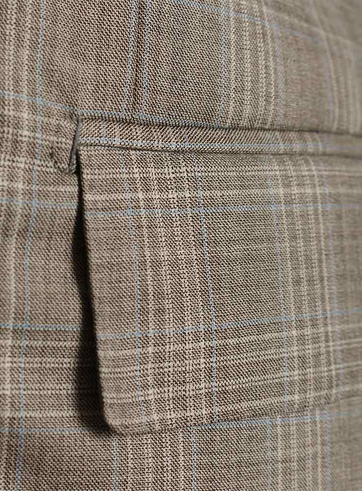 Beige Prince of Wales Wool Super 160 Racing Suit - Jacket side pocket
