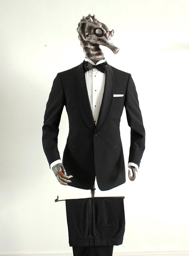 Black wool mohair blend tuxedo suit - Front