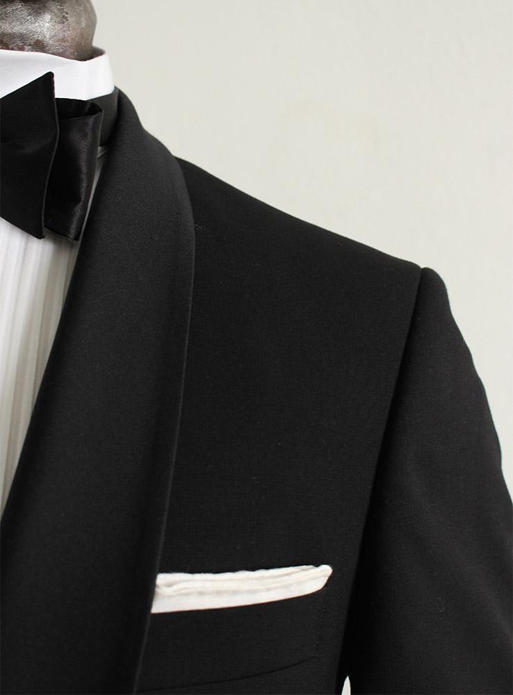Black wool mohair blend tuxedo suit - Jacket chest pocket