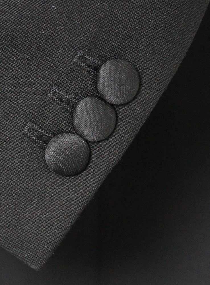 Black wool mohair blend tuxedo suit - Jacket cuff buttonholes