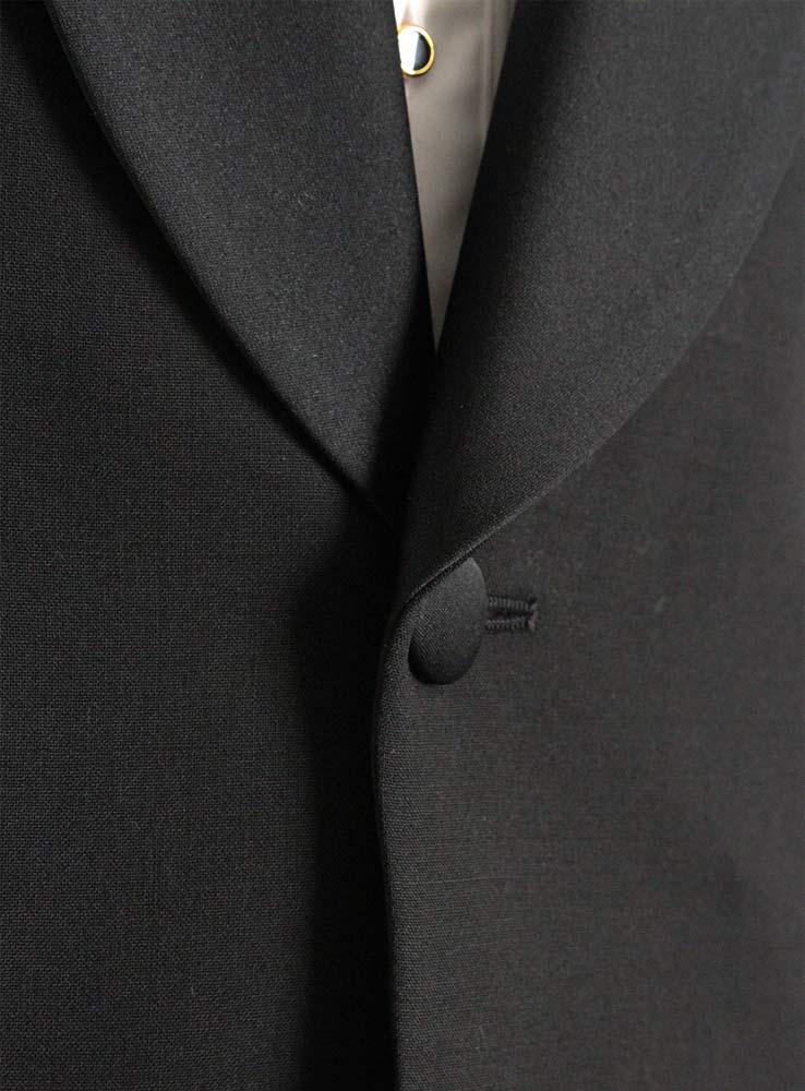 Black wool mohair blend tuxedo suit - Jacket front button