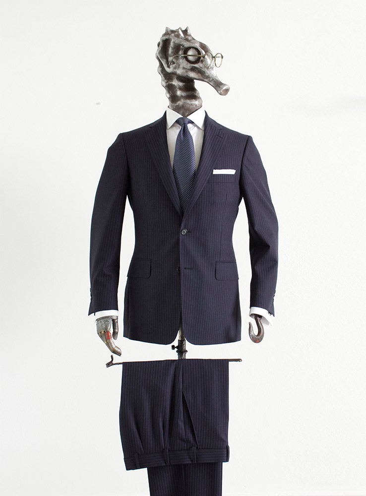 Dark Navy pin stripes business suit - Front