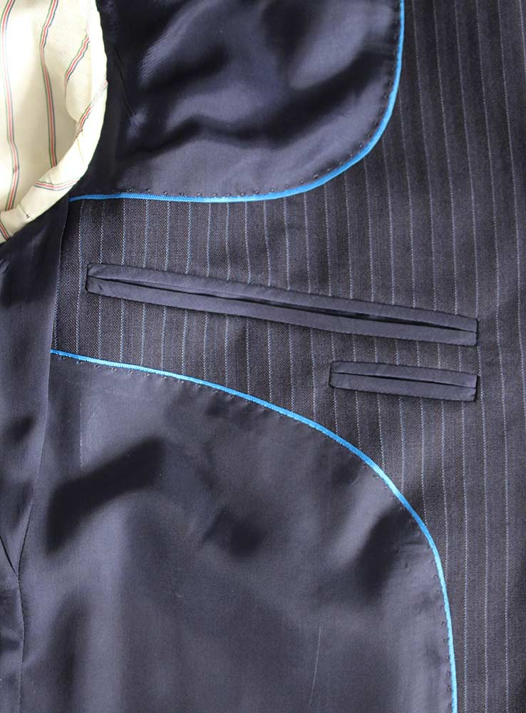 Dark Navy pin stripes business suit - Inside jacket pocket