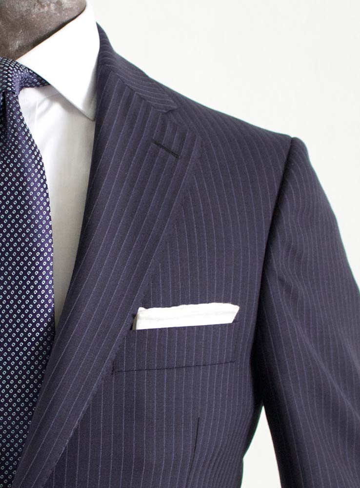 Dark Navy pin stripes business suit - Jacket chest pocket