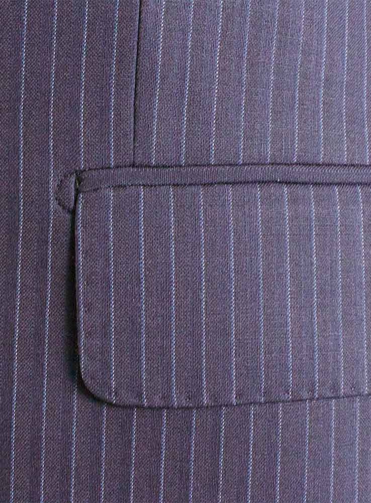 Dark Navy pin stripes business suit - Jacket flap side pocket