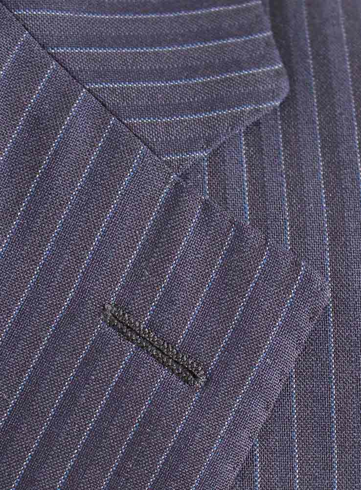 Dark Navy pin stripes business suit - Jacket notch lapel