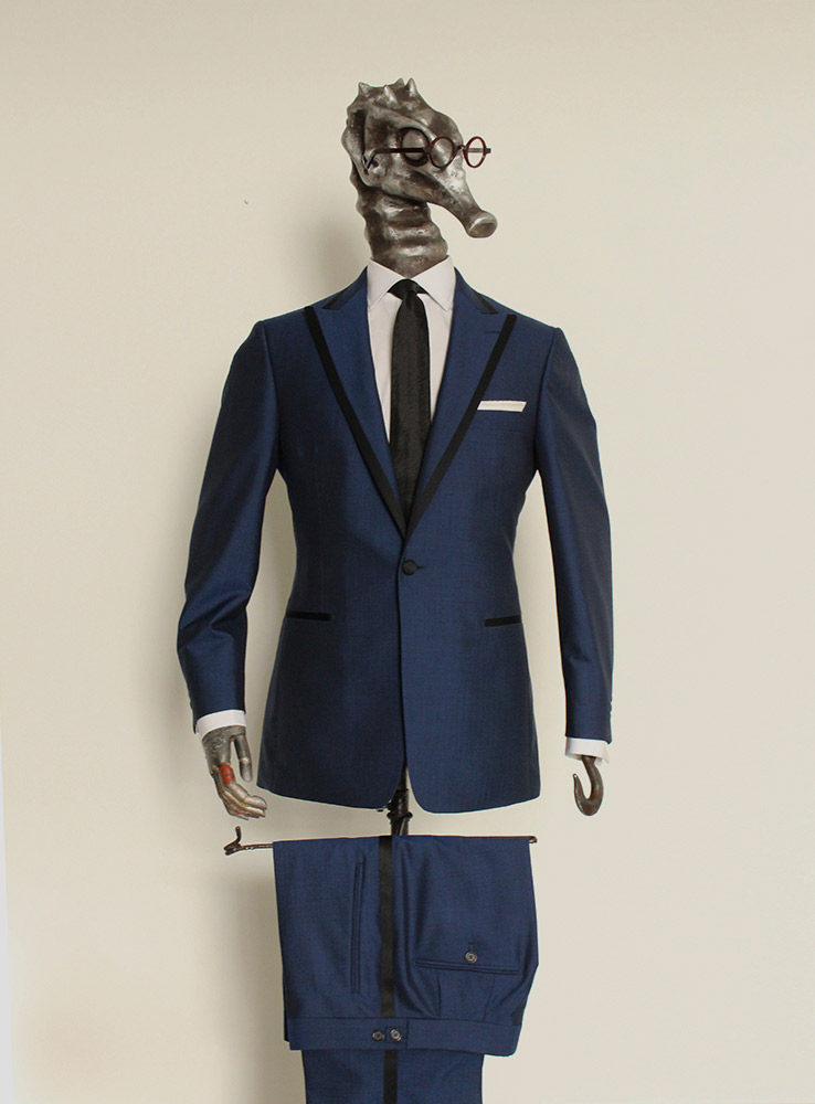 Deep ocean blue wool mohair wedding suit - Front