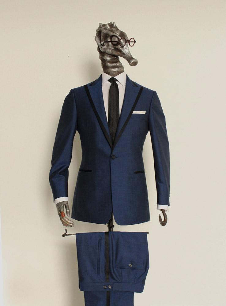 Deep ocean blue wool mohair wedding suit - Front