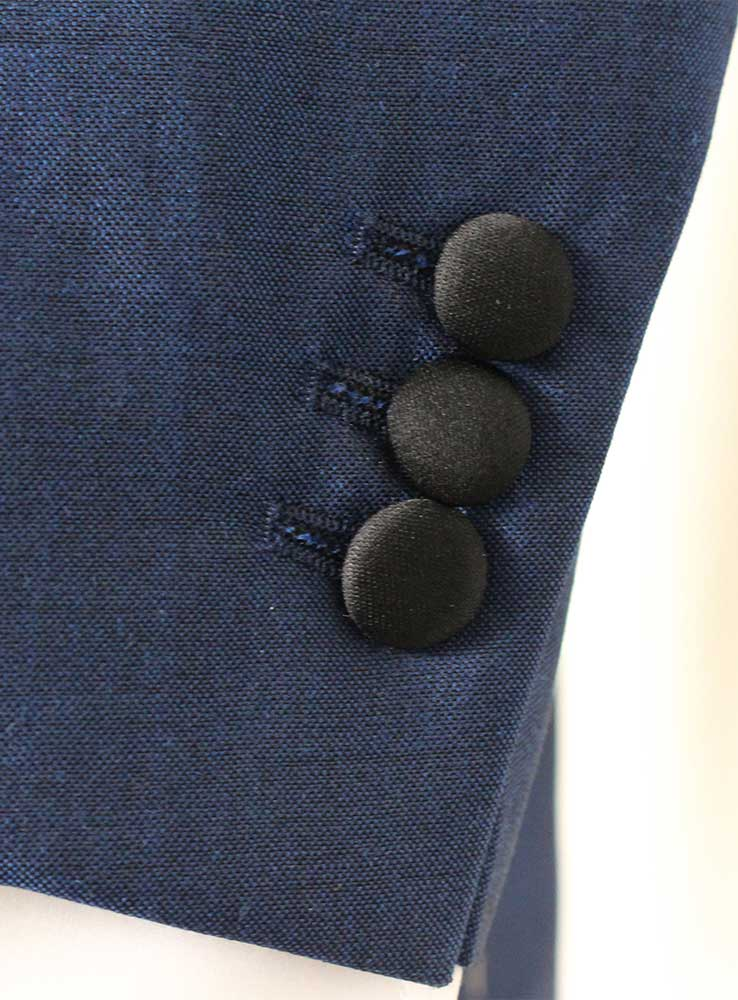 Deep ocean blue wool mohair wedding suit - Jacket cuff buttonholes