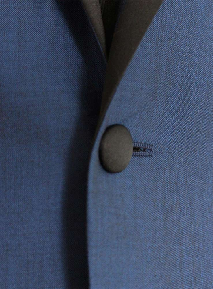 Deep ocean blue wool mohair wedding suit - Jacket front button