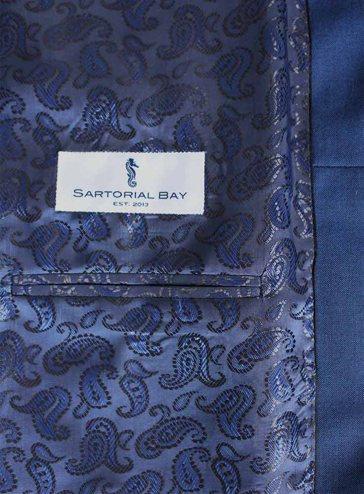 Deep ocean blue wool mohair wedding suit - Jacket inside pocket