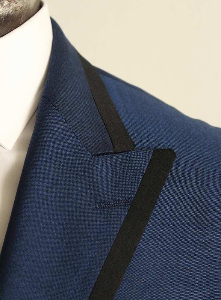 Deep ocean blue wool mohair wedding suit - Jacket peak lapel