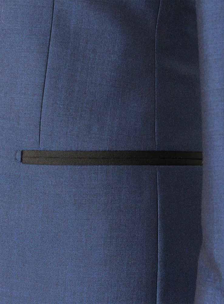 Deep ocean blue wool mohair wedding suit - Jacket side pocket