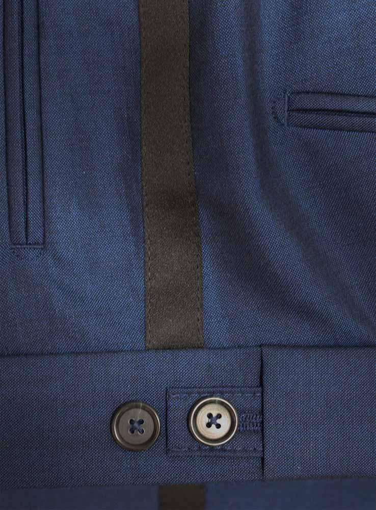 Deep ocean blue wool mohair wedding suit - Trousers waist side adjusters