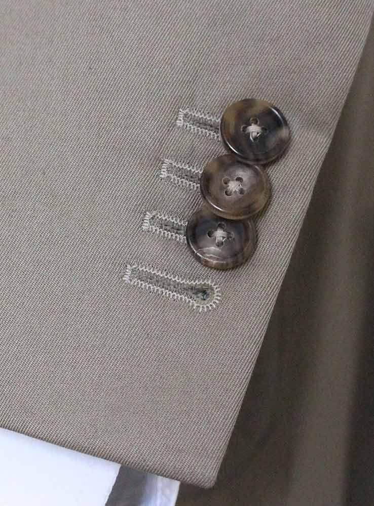 Desert storm cotton gabardine casual suit - Jacket cuff buttonholes
