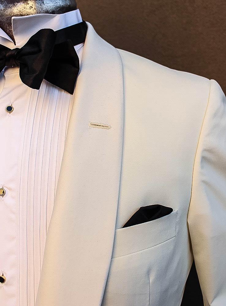 Ivory white wedding jacket - Chest pocket