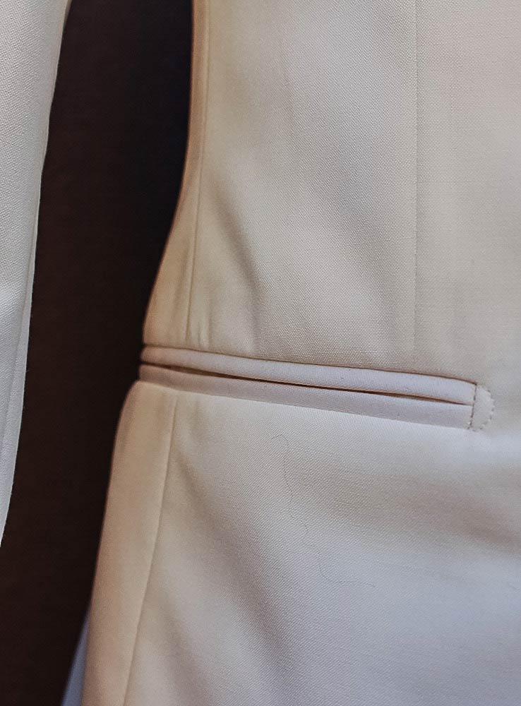 Ivory white wedding jacket - Jetted Side pocket