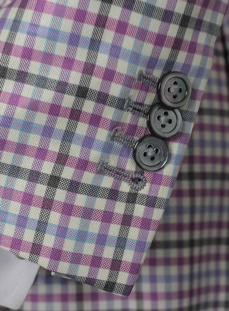Pink and grey checked plaid wool silk blend blazer - Cuff buttonholes