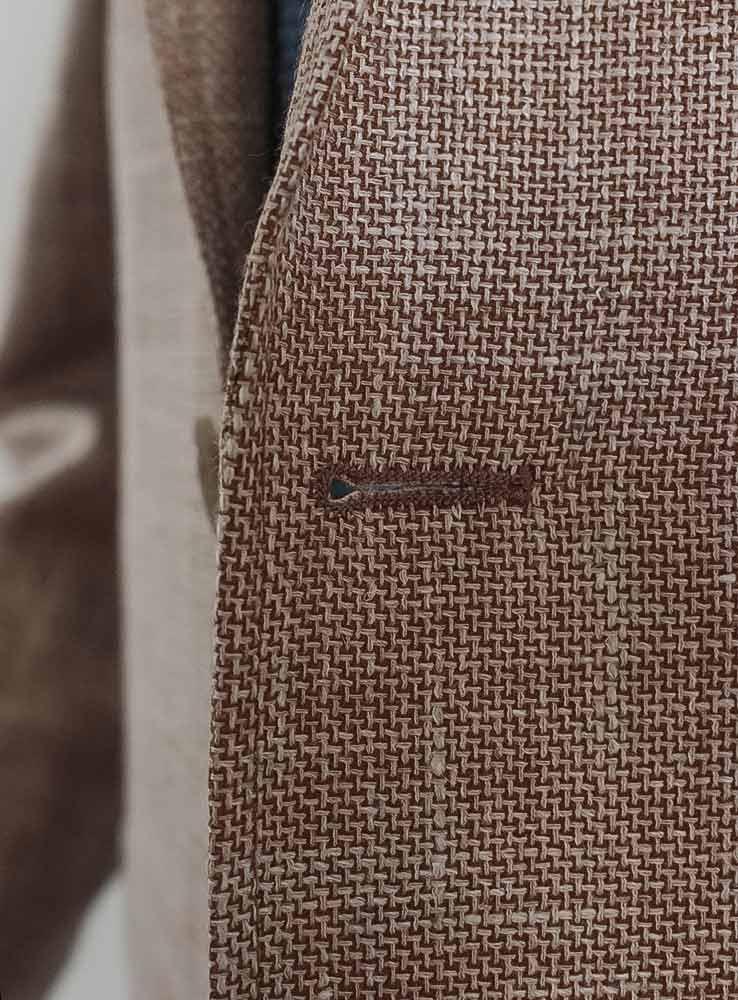 Sand hopsack WoolLinenSilk Blazer - Front button