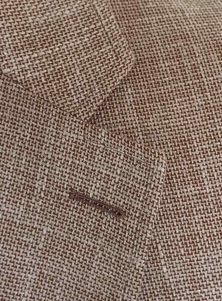 sand hopsack wool linen lapel