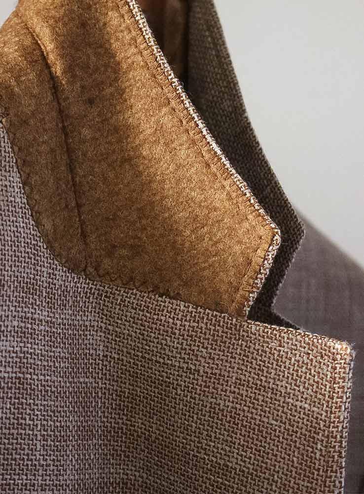 Sand hopsack wool linen silk blazer - Under collar