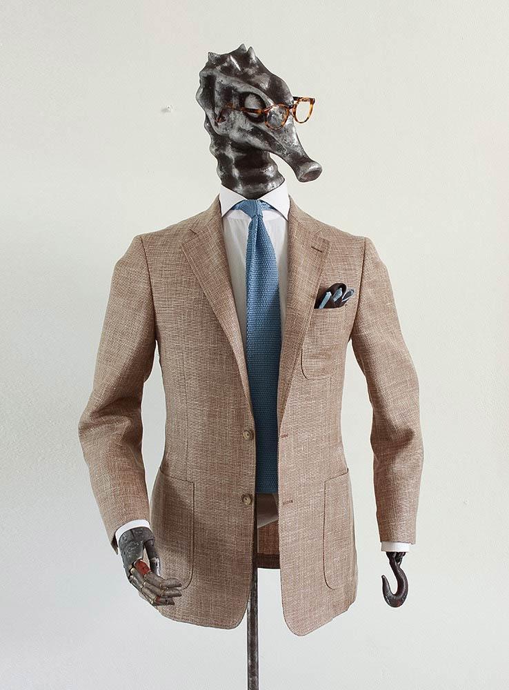 Sand hopsack wool linen tailor made blazer - Front