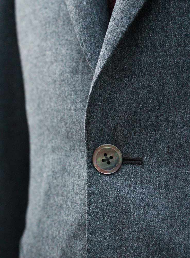 Grey flannel casual suit jacket front button