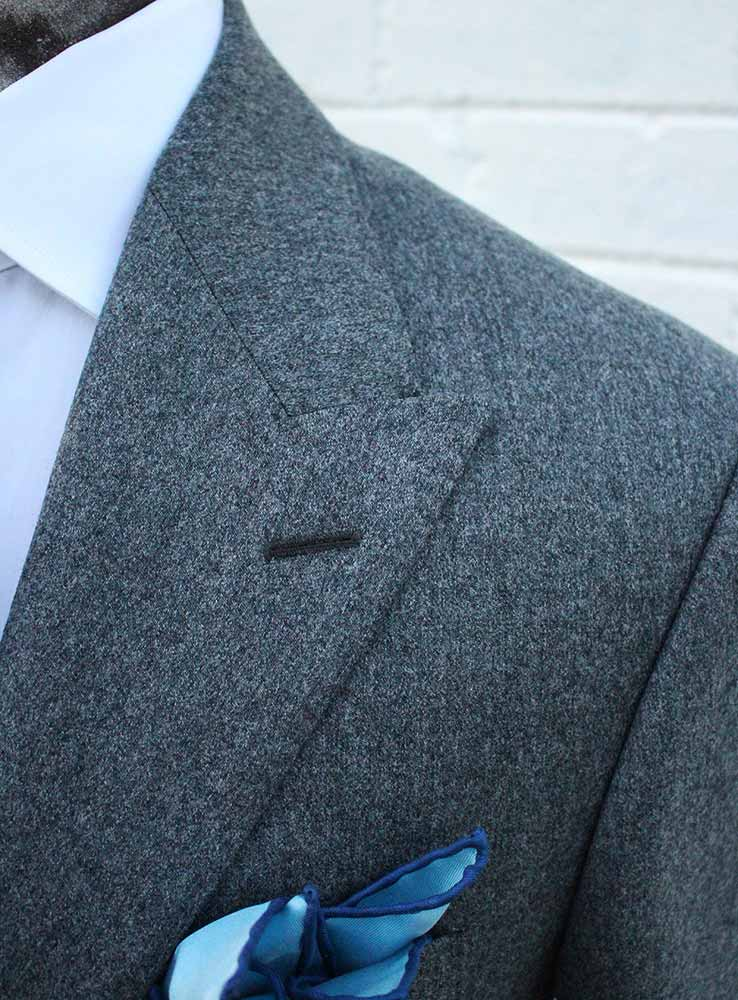 Grey flannel casual suit jacket peak lapel