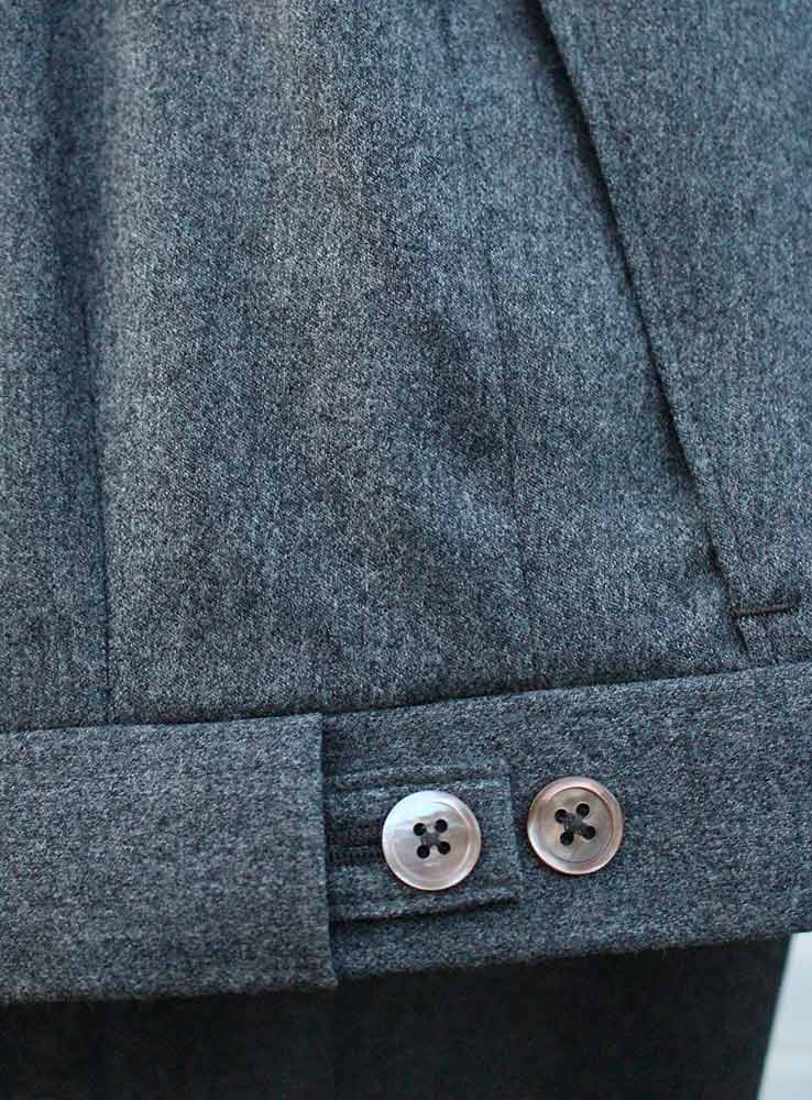 Grey flannel casual suit trousers waist buttons side adjusters